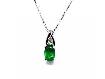 Diamantový přívěs se smaragdem bílé zlato Markab