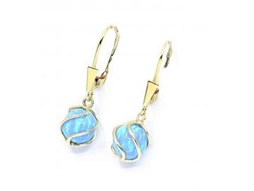 Zlaté náušnice visací s modrým opálem