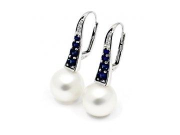 Náušnice s jihomořskou perlou 11,5-12mm safíry a diamanty