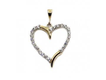 Zlatý přívěsek srdce obrys