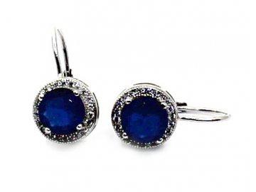 Stříbrné náušnice s modrým zirkonem Klárka