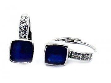 Stříbrné náušnice s modrým zirkonem Kely