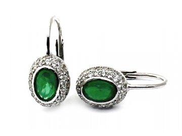 Stříbrné náušnice se zeleným zirkonem Andrea