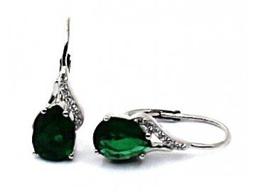 Stříbrné náušnice se zeleným zirkonem Anna