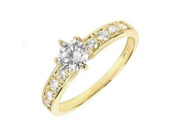 Zlatý prsten se zirkony Alfa