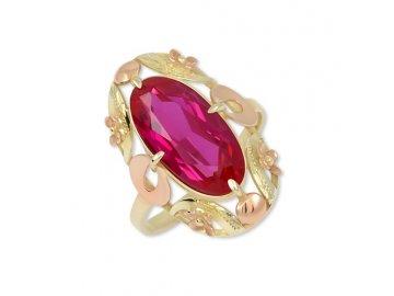 Zlatý barokní prsten se syntetickým rubínem