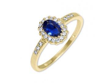 Zlatý prsten se safírem a zirkony Kate II