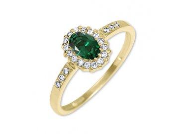 Zlatý prsten se zeleným kamenem a zirkony Tereza