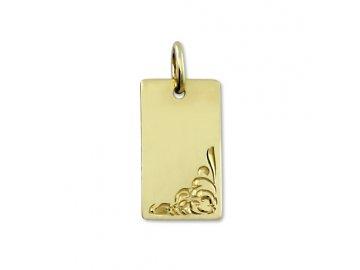 Zlatá destička gravírovaná