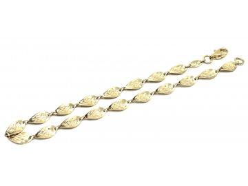 Zlatý náramek článkový lesklý