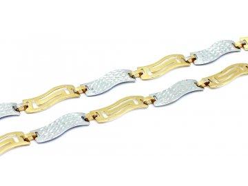 Zlatý náramek dvoubarevné články 19cm