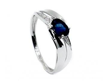 Diamantový prsten se safírem 54