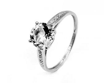 Diamantový prsten s bílým topazem