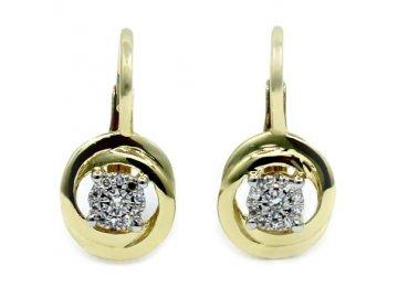 Diamantové náušnice žluté zlato Kosma
