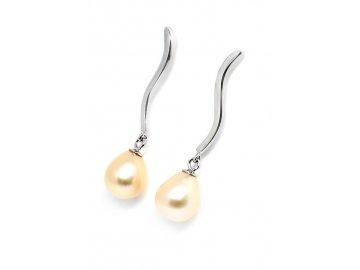 Stříbrné náušnice visací s perlou