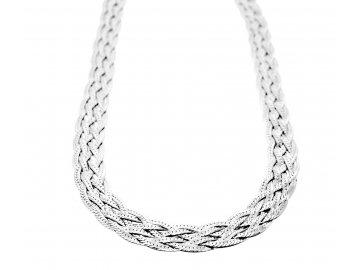Stříbrný pletený plochý řetízek 45/50cm