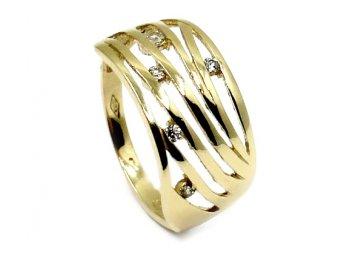 Zlatý prsten se zirkony Jasmína