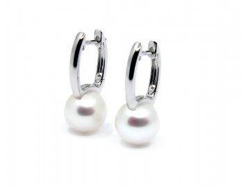 Perlové visací náušnice bílé zlato s perlou 10mm