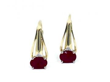 Zlaté náušnice s rubíny a diamanty