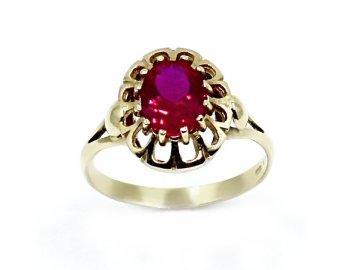 Zlatý prsten s rubínem Rina