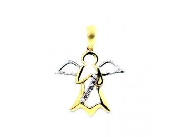 Zlatý přívěsek anděl 22mm