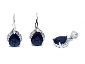 Stříbrné náušnice s modrým zirkonem a přívěskem
