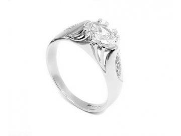 Zlatý prsten z bílého zlata a zirkony Lara