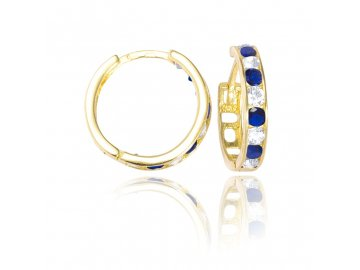 Zlaté  kruhy s modrým a bílým kamenem