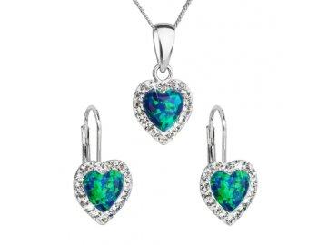 Opálová souprava se zirkony zelené srdce