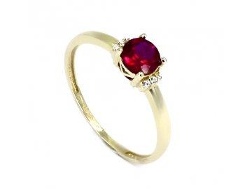 Zlatý prsten s rubínem a zirkony Ema
