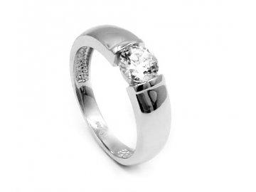 Zlatý prsten s bílým zirkonem 53