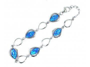 Náramek s modrým opálem 17-19cm