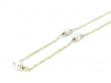 Zlatý řetízek s perlami 45cm