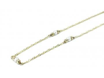 Zlatý řetízek s perlami 40cm
