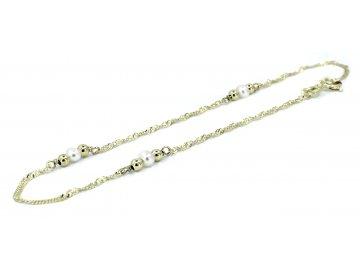 Zlatý náramek s perlami 18-20cm