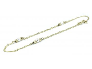 Zlatý náramek s perlami 20cm