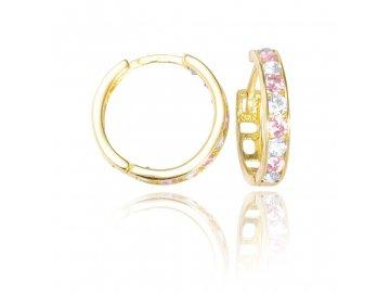 Zlaté náušnice kruhy s růžovým zirkonem 15mm