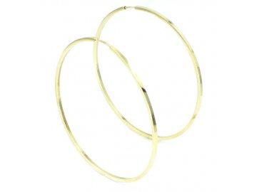 Zlaté náušnice kruhy 50mm hranaté