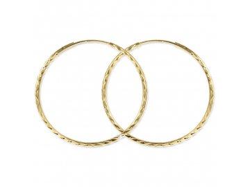 Zlaté náušnice kruhy hranaté 40mm