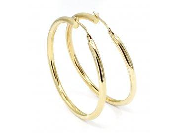 Zlaté náušnice kruhy hladké 45mm