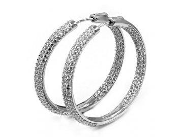 Stříbrné kruhy jemné zirkony 4,5cm