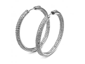 Stříbrné kruhy  zirkony 3,5cm