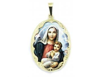 Zlatá madonka s Ježíšem porcelánová 3,7cm