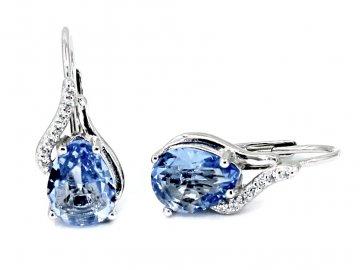 Stříbrné náušnice s blue topazem a zirkony