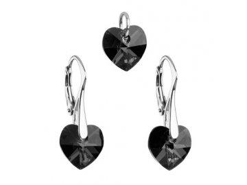 Sada šperků s černými krystaly Swarovski náušnice a přívěsek