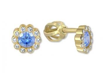 Zlaté náušnice modré šroubek Iva
