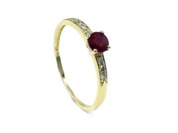 Prsten s rubínem s diamanty 0.37ct