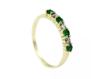 Prsten se smaragdem 0,24ct a diamanty