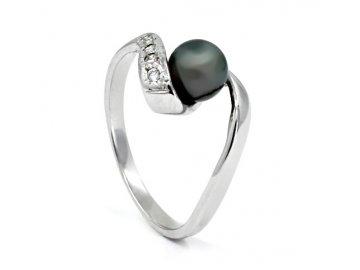 Zlatý prsten s  šedou perlou z bílého zlata