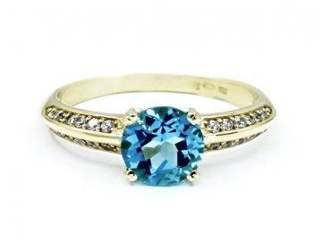 Zlatý prsten blue topaz Aqua